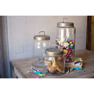 Glass Jars with Metal Lids, Set of Three
