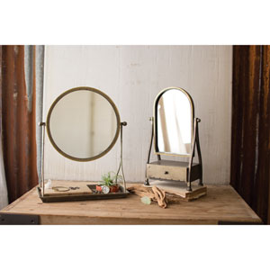 Metal Frame Table Mirror with Stand