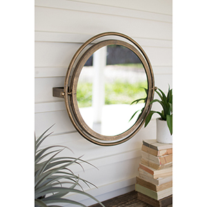 Gold Round Wall Mirror with Adjustable Bracket
