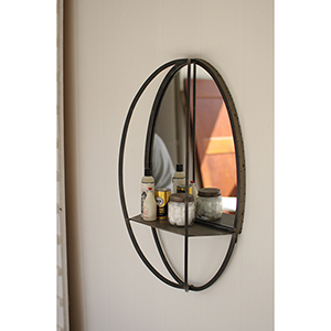 Charcoal Oval Mirror with Wall Shelf