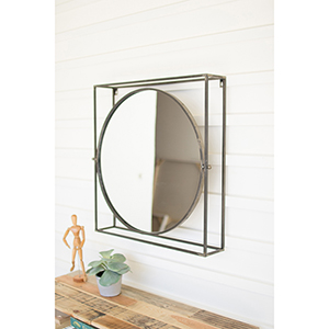 Gold Round Mirror in Square Metal Frame