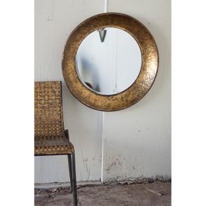Antique Gold Large Round Metal Mirror