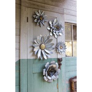 Galvanized Metal Flower Wall Hangings, Set of Five