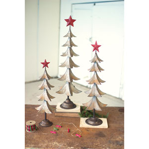 Metal Trees with Red Star, Set of Three