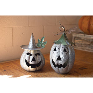 Galvanized Jack-O-Lanterns, Set of Two