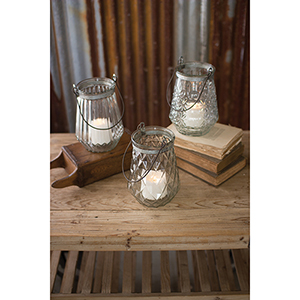 Set of 3 Glass Lanterns With Wire Handles - One Each Design