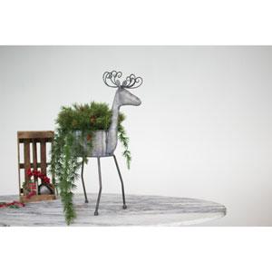 Galvanized Metal Deer Planter