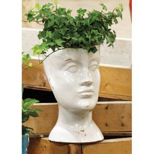 White Ceramic Head Planter