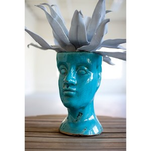 Turquoise Ceramic Head Planter