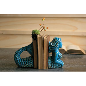 Turquoise Ceramic Mermaid Bookends