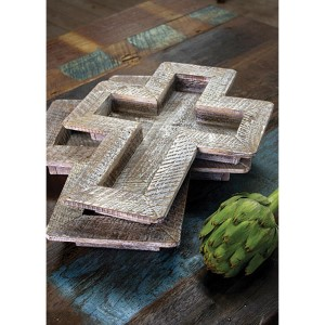 Whitewashed Wooden Cross Tray, Set of 2