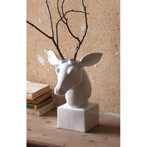 White Ceramic Table Top Mounted Deer Head