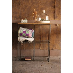 Wire Four Wall Cubby Console with Wooden Top