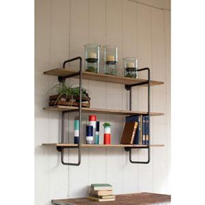 Three Tiered Metal Tube Frame Wall Shelf