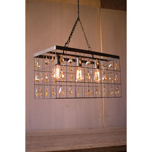 Large Rectangle Pendant Light with 72 Amber Glass Gems