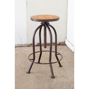 Honey Finish Adjustable Bar Stool with Recyled Wood