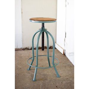 Industrial Blue Adjustable Bar Stool with Recyled Wood