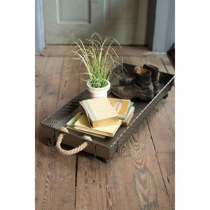 Rolling Iron Boot Tray with Rope Handles