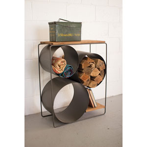 Honey Wood and Raw Metal Shelf with Round Compartments