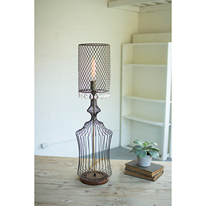 Brown One-Light Small Wire Table Lamp