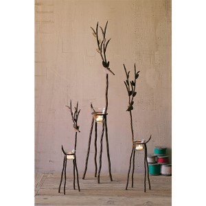 Rustic Iron Reindeer Candleholder with One Tealight Holder, Set of 3