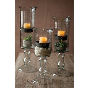 Clear Glass Candle Cylinder with Insert on a Glass Pedestal, Medium Only