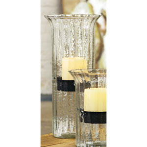 Large Ribbed Glass Candle Cylinder with Rustic Insert