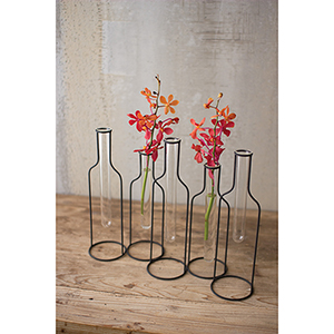 Five Wire Bottle Bud Vases