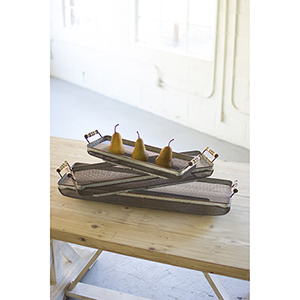 Set of 3 Rustic Galvanized Rectangle Trays with Wooden Handles