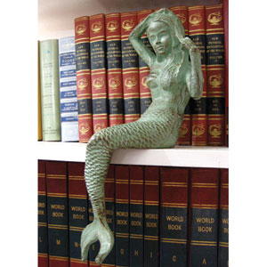 Antique Green Cast Iron Mermaid Figurine