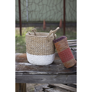Natural and White Large Braided Cement Planter with Jute Handles