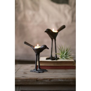 Cast Iron Bird Tea Light Holders, Set of 2