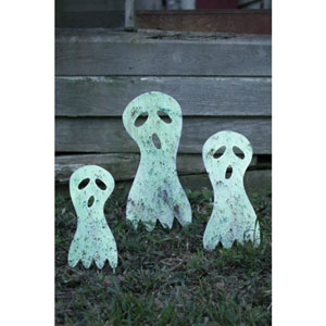 Glow In The Dark Metal Ghost Yard Art, Set of Three
