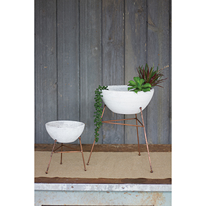 Set of 2 White Wash Clay Flower Bowls On Copper Finish Bases