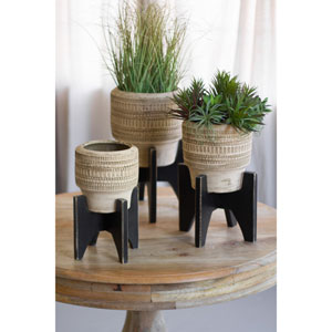 Round Clay Planters with Black Wooden Base, Set of Three