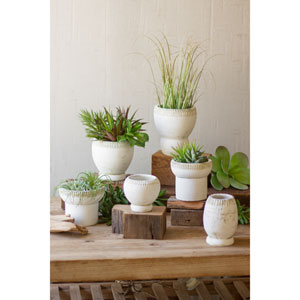 White Clay Planters, Set of Six