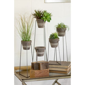 Clay Pots with Wire Bases, Set of Five