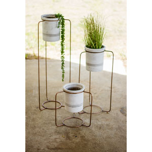 White Wash Pots with Copper Metal Stands, Set of Three