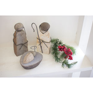 River Rock Mary Joseph and Jesus, Set of Three