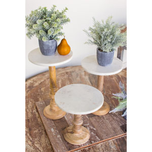 Wooden Display Stands with Marble Tops, Set of Three