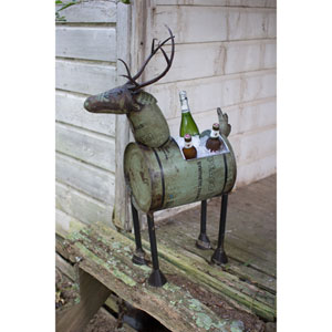 Green Reclaimed Metal Barrel Deer Planter or Wine Cooler