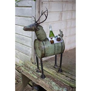 Green Reclaimed Metal Barrel Deer Planter or Wine Cooler