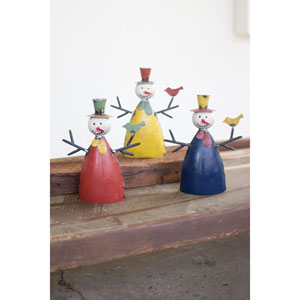 Recycled Metal Snowmen, Set of Three