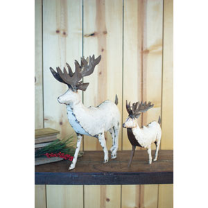 Large Recycled White Metal Deer