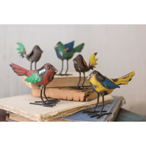 Recycled Metal Birds, Set of Five
