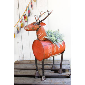 Red Reclaimed Metal Barrel Deer Planter or Wine Cooler