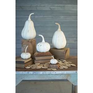 Distressed White Recycled Iron Pumpkins, Set of Five