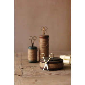 Wooden Spools with Jute Twine and Scissors, Set of Three