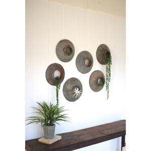 Repurposed Metal Wall Hangings, Set Six