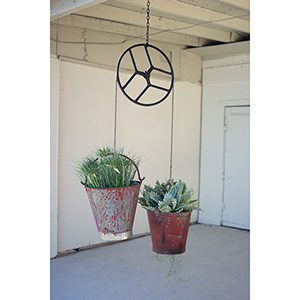 Repurposed Sewing Machine Pulley with Iron Buckets Scale
